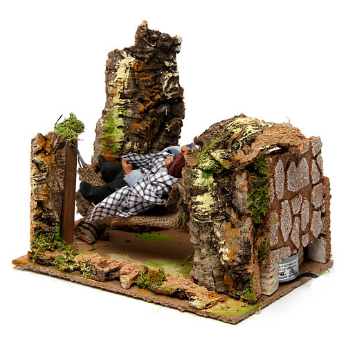 Man on hammock with movement 20x20x15 cm for 10 cm nativity scene 2