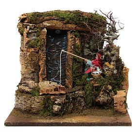 Figuras em Movimento para Presépio: Cenário cachoeira bomba de água e pescador em movimento para presépio de Natal figuras altura média 12 cm