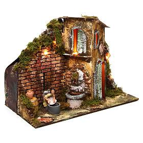 Wäscherin mit Brunnen und Haus 8cm bewegliche Krippenfigur s3