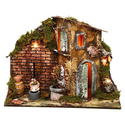 Wäscherin mit Brunnen und Haus 8cm bewegliche Krippenfigur 1