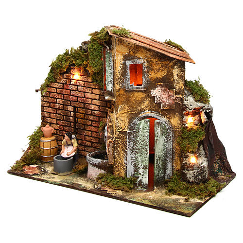 Wäscherin mit Brunnen und Haus 8cm bewegliche Krippenfigur 2