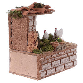 Setting with moving hens for Nativity Scene 10 cm s3