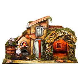 Figuras em Movimento para Presépio: Pizzaiolo movimento aldeia iluminada presépio 30x40x20 cm