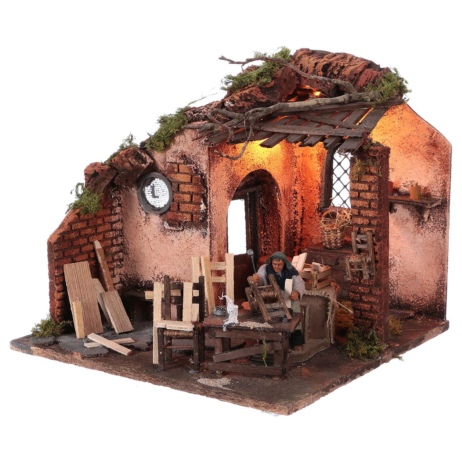 Escena carpintero con taller movimiento 10 cm de altura media belén napolitano 4