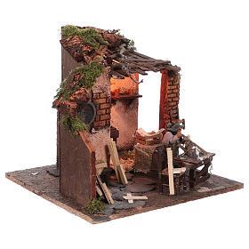 Escena carpintero con taller movimiento 10 cm de altura media belén napolitano s3