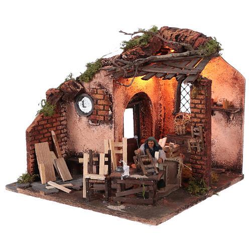 Escena carpintero con taller movimiento 10 cm de altura media belén napolitano 2