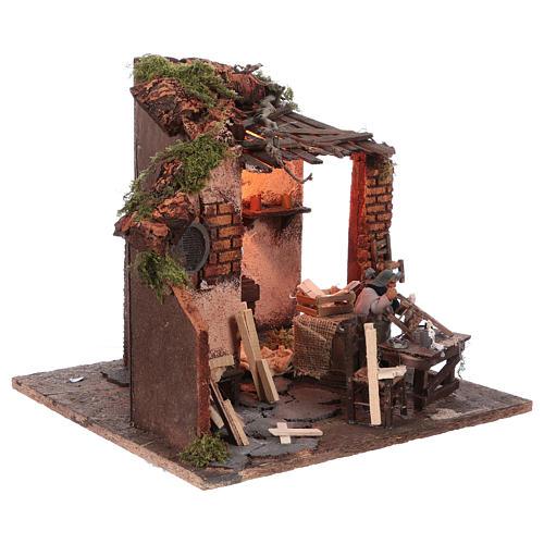 Escena carpintero con taller movimiento 10 cm de altura media belén napolitano 3