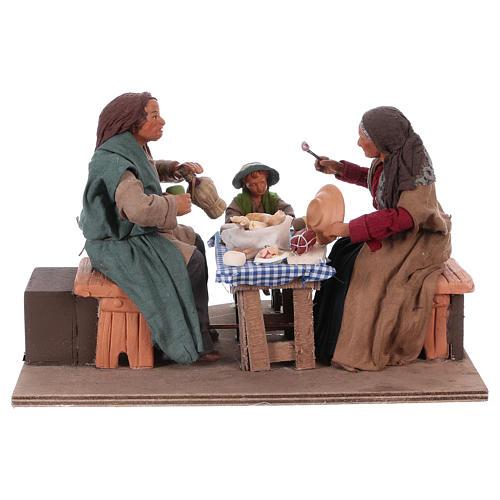Escena familia que cena con niño 24 cm de altura media belén Nápoles 1