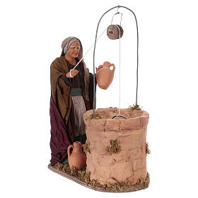 Moving woman fetching water from a well for 30 cm Nativity scene s4