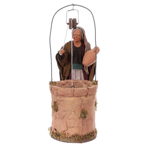 Moving woman fetching water from a well for 30 cm Nativity scene 1