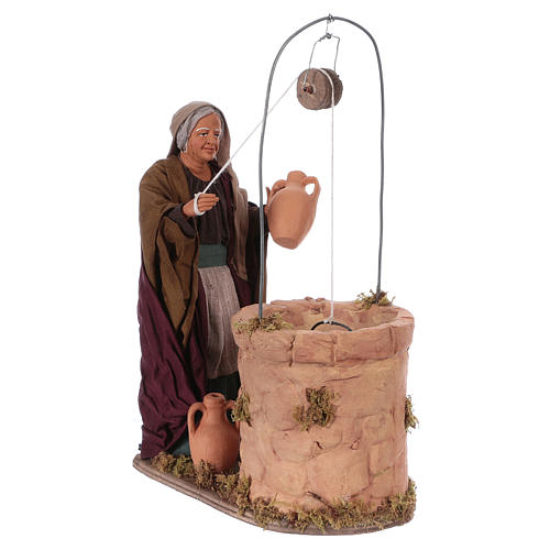 Moving woman fetching water from a well for 30 cm Nativity scene 4