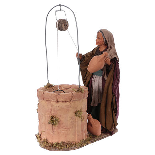 Mujer cerca del pozo 30 cm de altura media movimiento belén napolitano 3