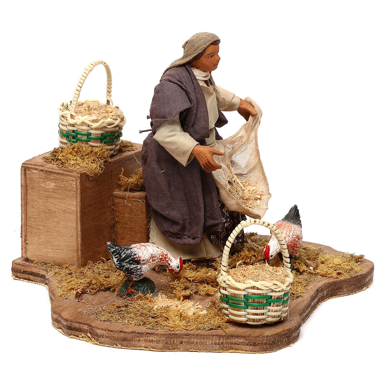 STOCK Mujer con gallinas movimiento cm 12 belén napolitano 4