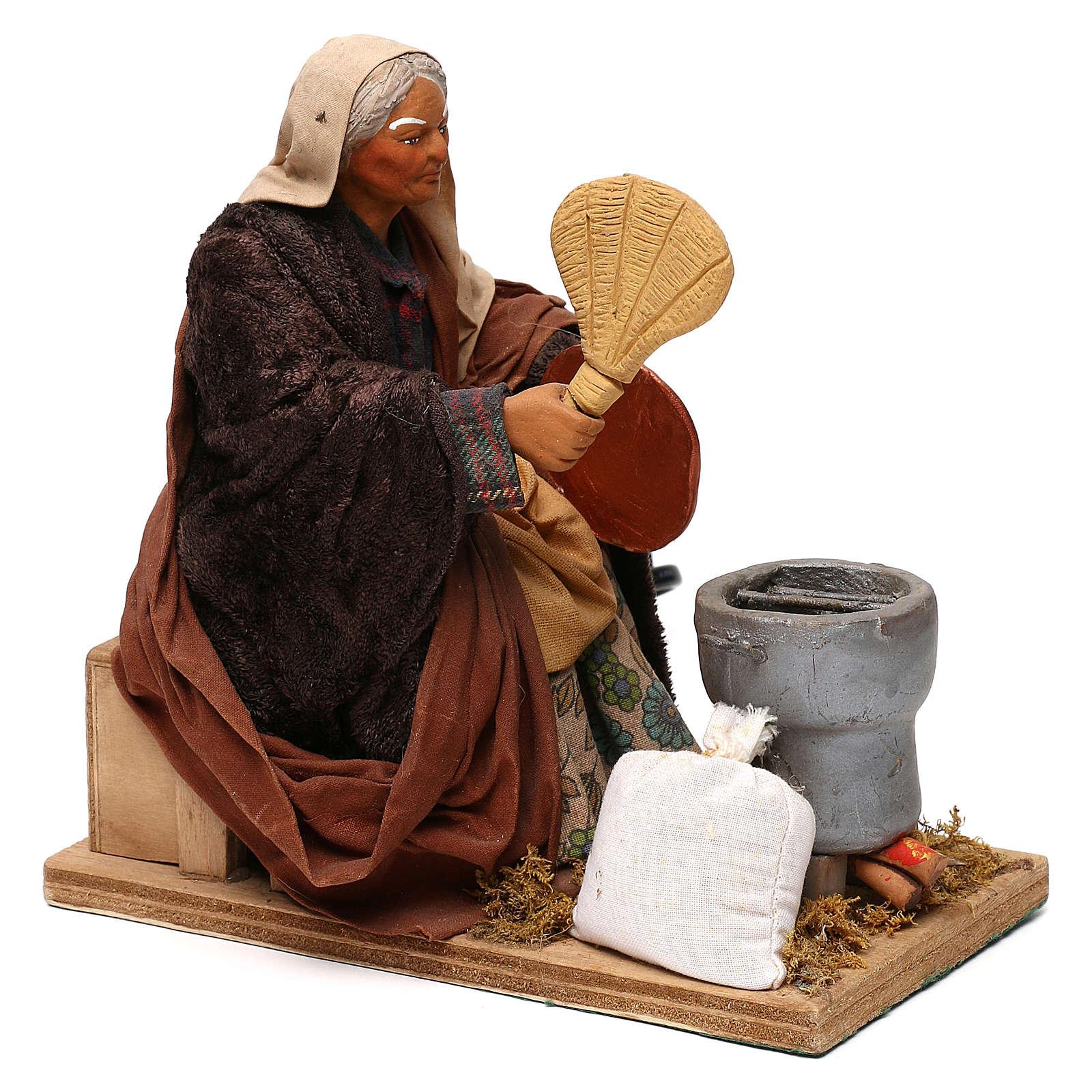 STOCK Mujer con abanico movimiento 24 cm belén napolitano 4