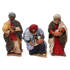 STOCK Tres Reyes Magos en movimiento belén napolitano 24 cm s1