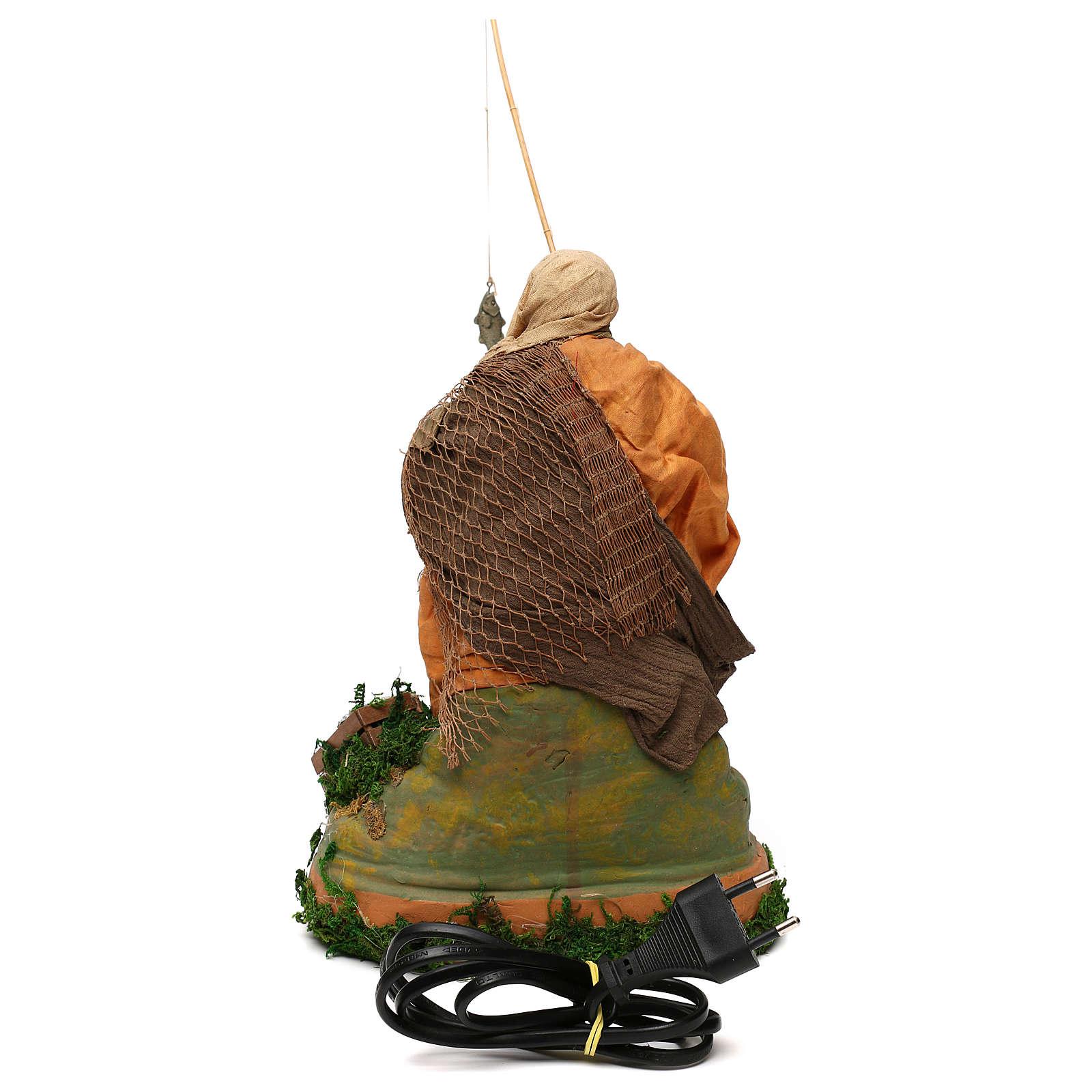 STOCK Pescatore con canna in movimento presepe napoletano 24 cm 4