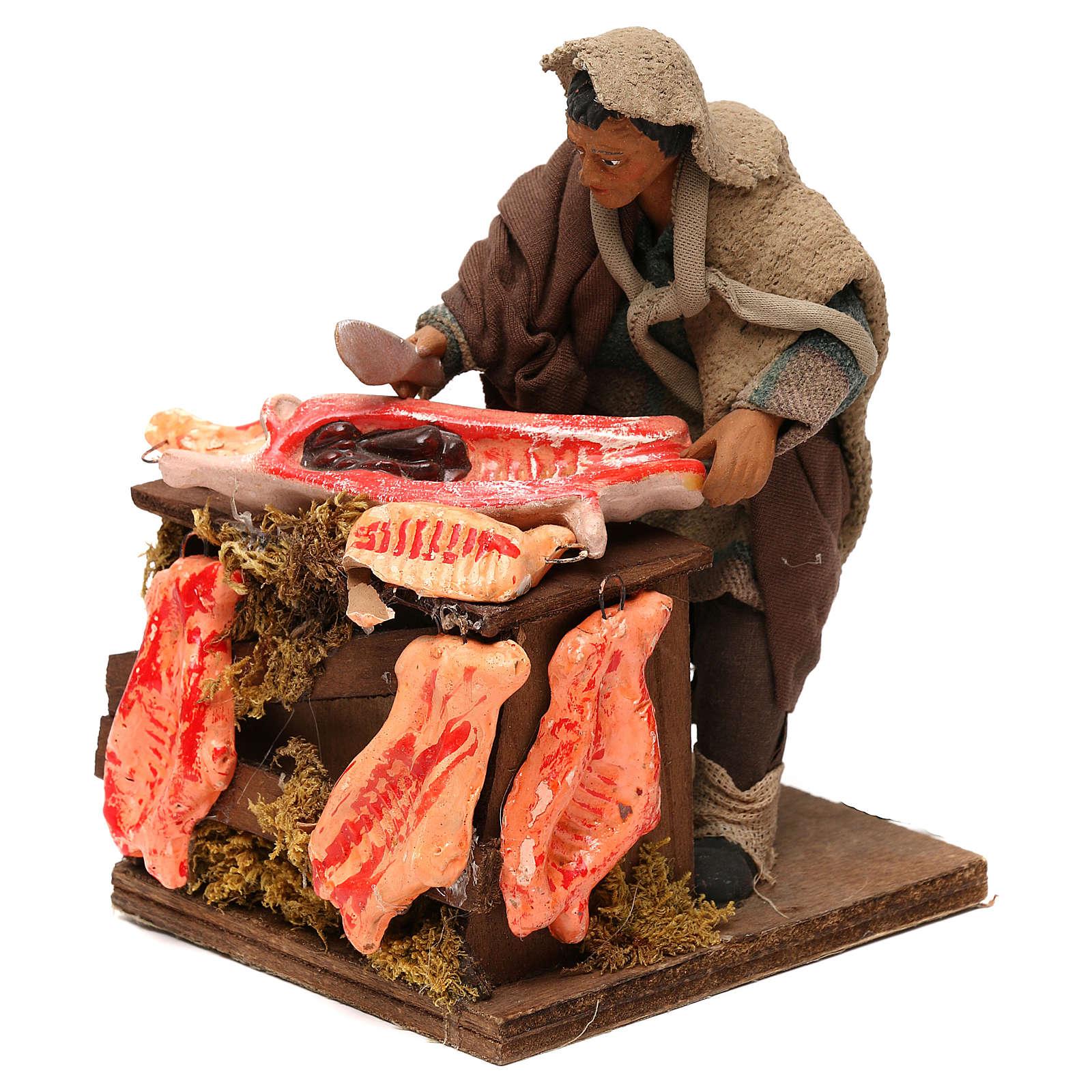STOCK Macellaio con carne in movimento 14 cm presepe napoletano 4