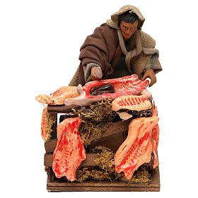 STOCK Macellaio con carne in movimento 14 cm presepe napoletano s1