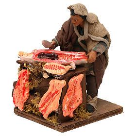STOCK Macellaio con carne in movimento 14 cm presepe napoletano s2