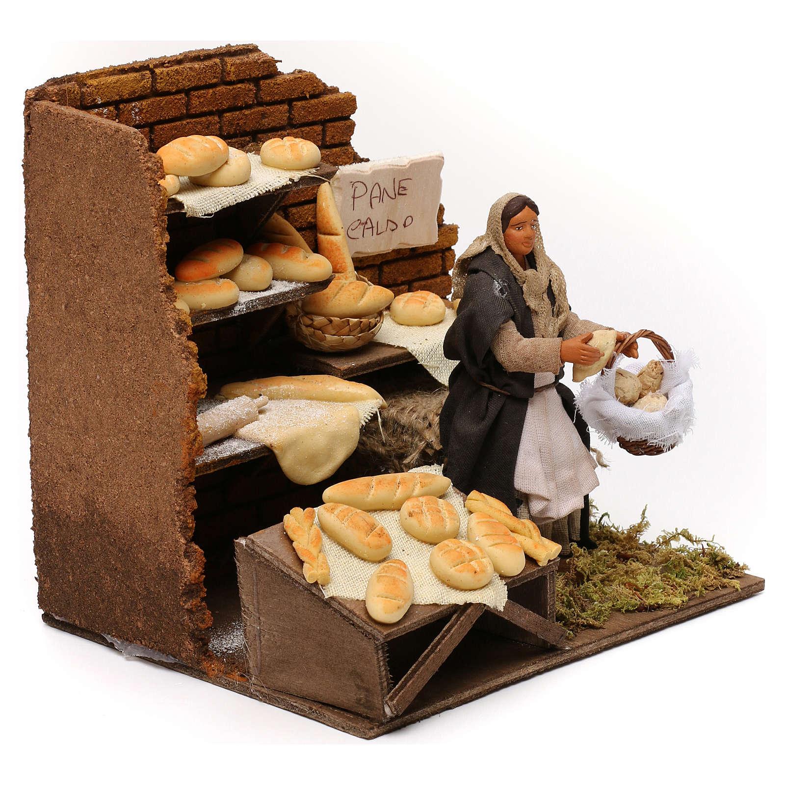 Panadería con panadera en movimiento belén napolitano 12 cm 4