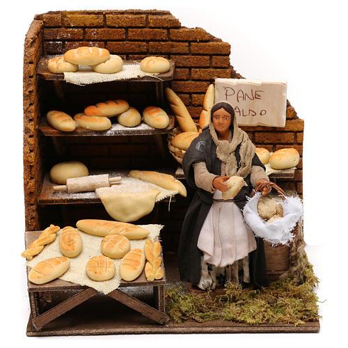 Panadería con panadera en movimiento belén napolitano 12 cm 1