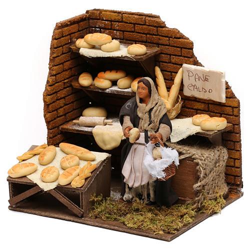 Panadería con panadera en movimiento belén napolitano 12 cm 3