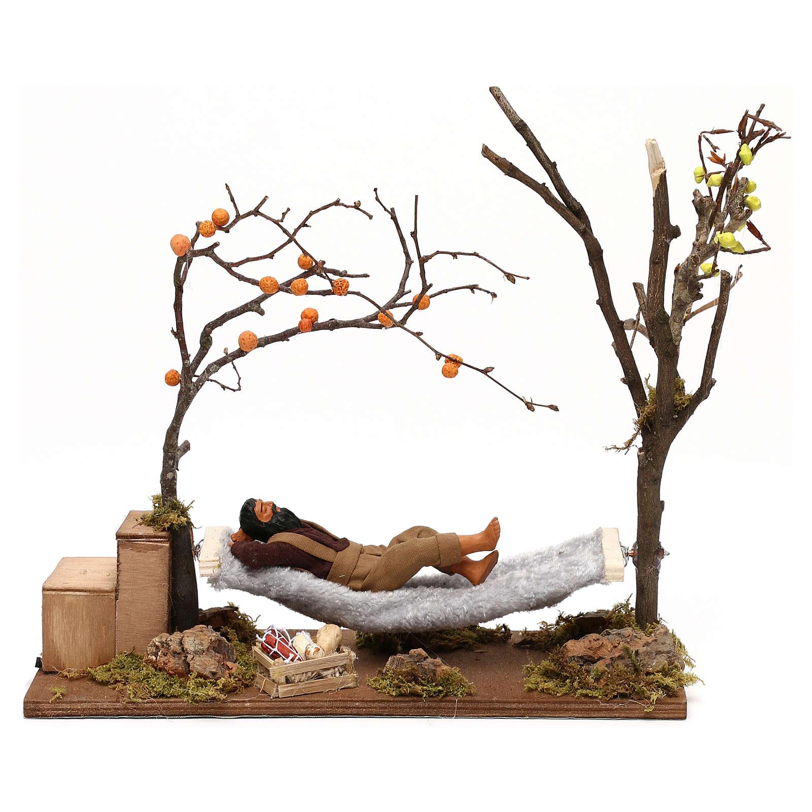 Uomo che dorme su amaca movimento presepe napoletano 12 cm 4