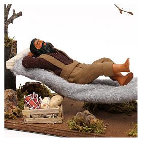 Uomo che dorme su amaca movimento presepe napoletano 12 cm s2