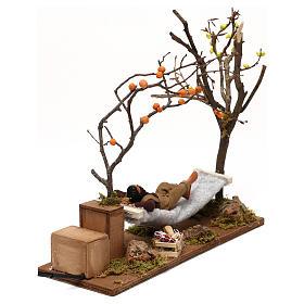 Uomo che dorme su amaca movimento presepe napoletano 12 cm s4
