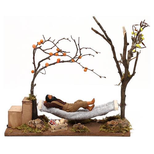 Uomo che dorme su amaca movimento presepe napoletano 12 cm 1