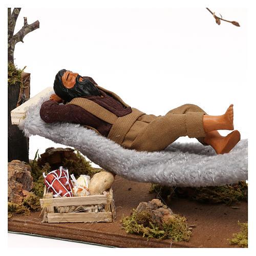 Uomo che dorme su amaca movimento presepe napoletano 12 cm 2
