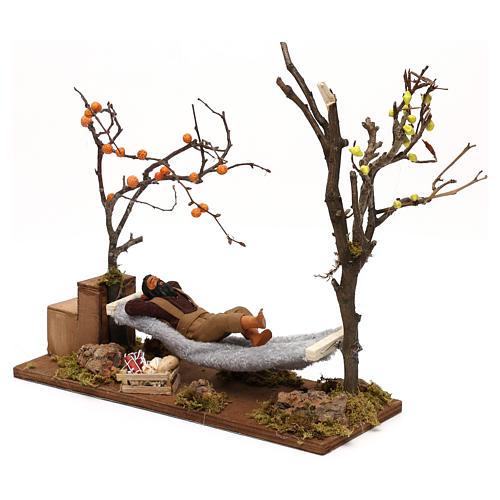 Uomo che dorme su amaca movimento presepe napoletano 12 cm 3