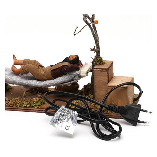Uomo che dorme su amaca movimento presepe napoletano 12 cm 5