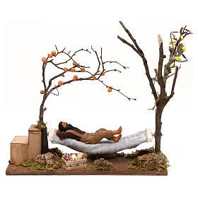 Presépio Napolitano: Homem adormecido numa cama de rede movimento presépio napolitano com figuras de 12 cm altura média