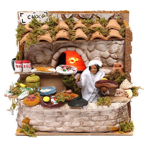 Scenetta cuoco forno luci personaggio movimento presepi di 12 cm 1