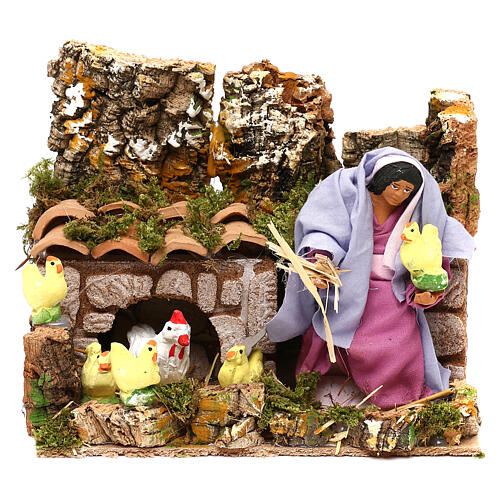 Animated farmer woman with hens and chicks with, 12 cm nativity scene 1