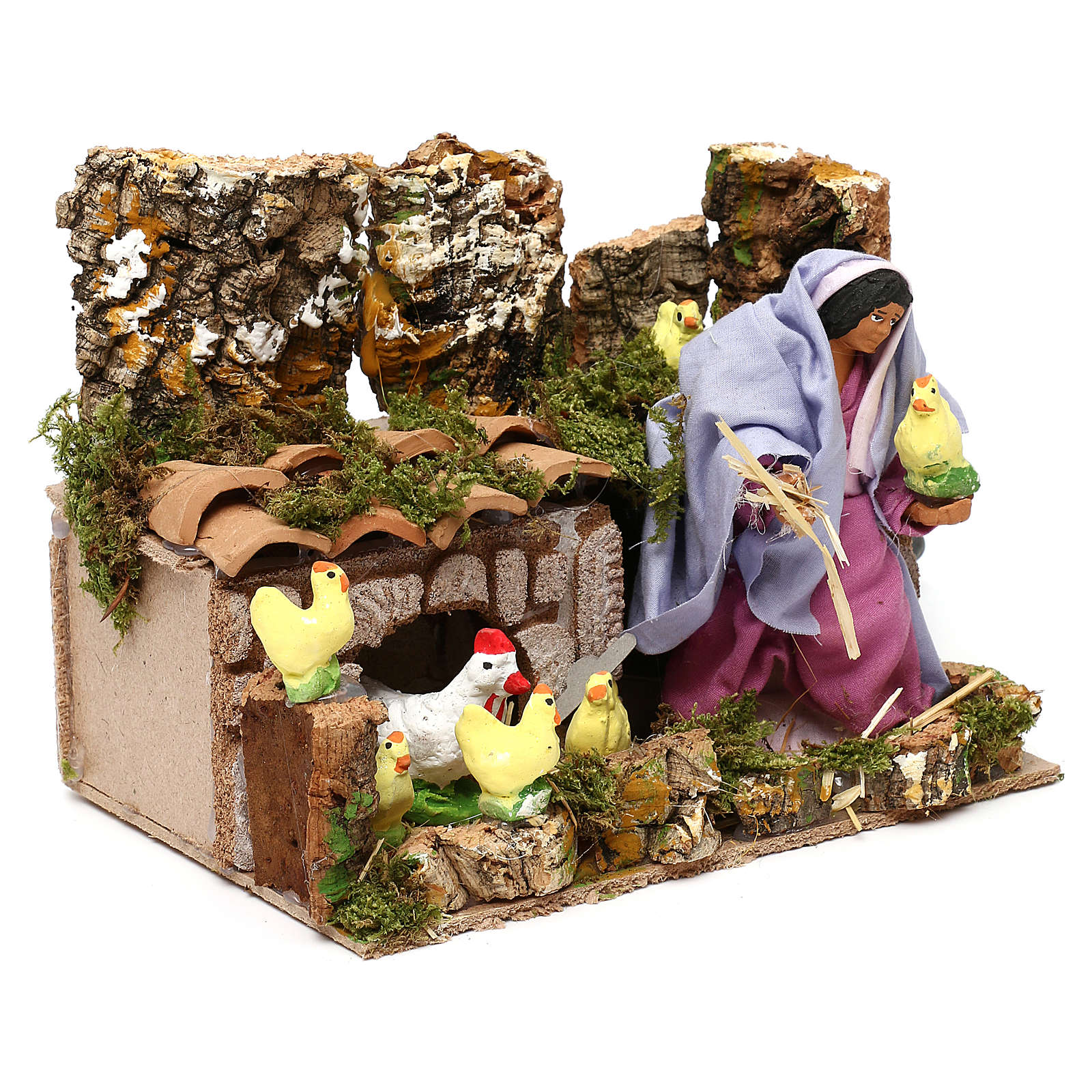 Farmer woman with hens and chicks with movement, 12 cm nativity 3