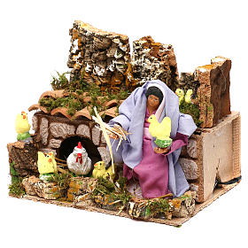 Farmer woman with hens and chicks with movement, 12 cm nativity s2