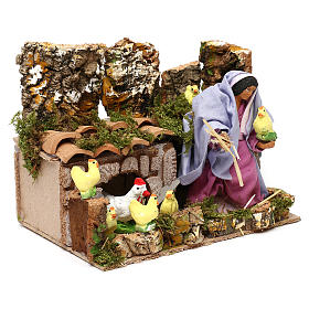 Farmer woman with hens and chicks with movement, 12 cm nativity s3