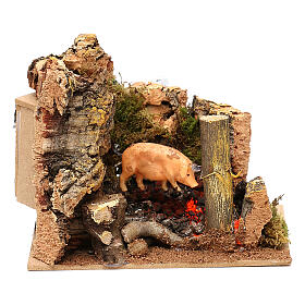 Animated pig roasted on spit scene, 11 cm Nativity Scene s1