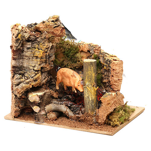 Animated pig roasted on spit scene, 11 cm Nativity Scene 3