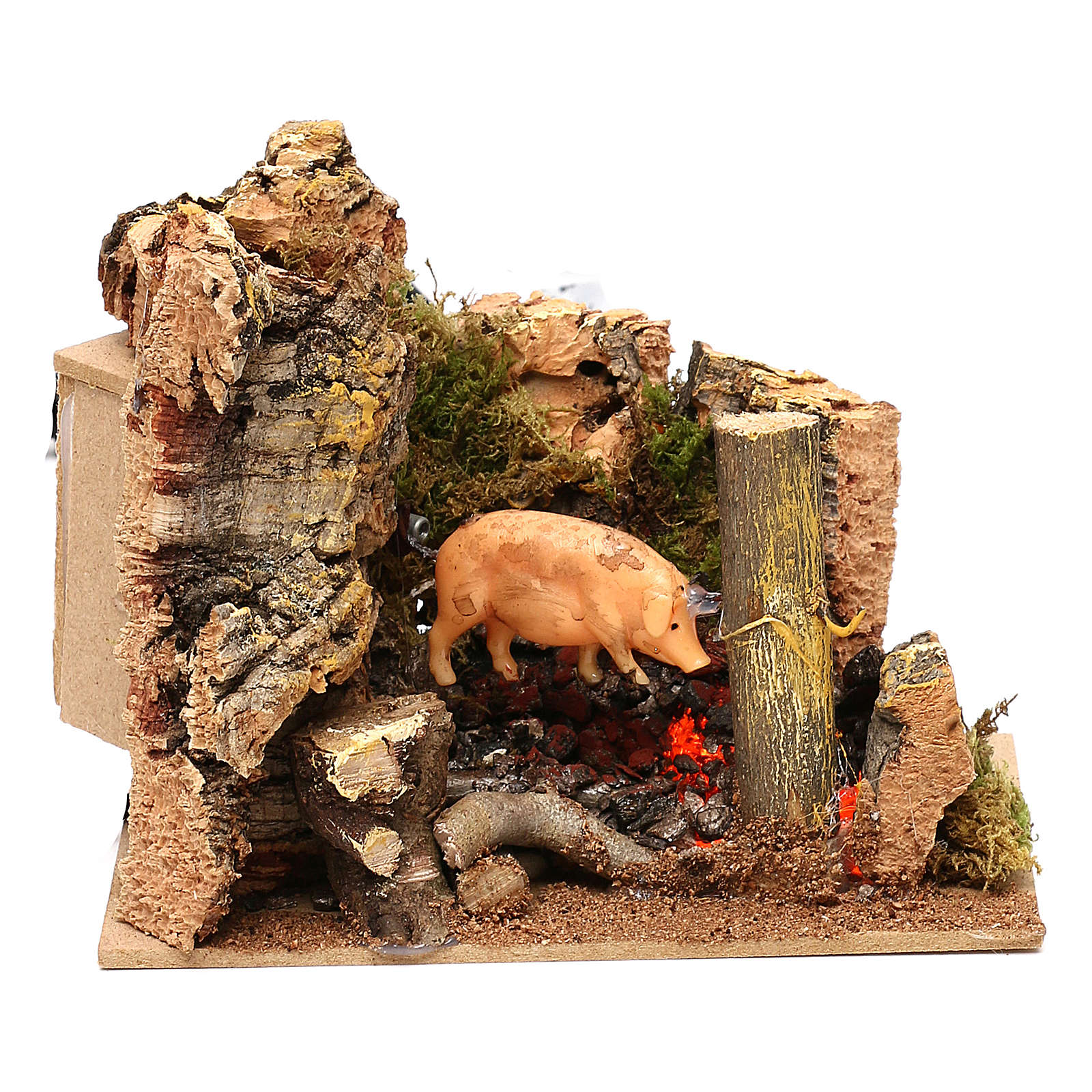 Escena cerdo en el asador con movimiento belén 11 cm 3