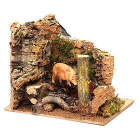 Escena cerdo en el asador con movimiento belén 11 cm s3