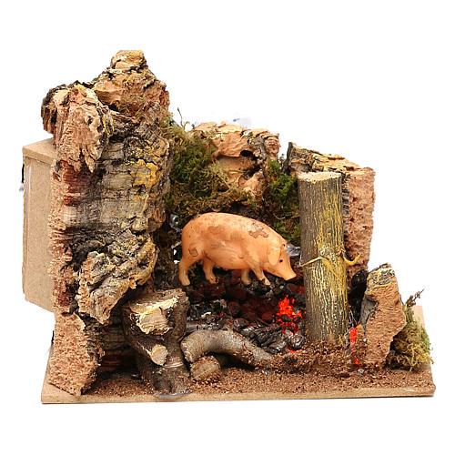 Escena cerdo en el asador con movimiento belén 11 cm 1