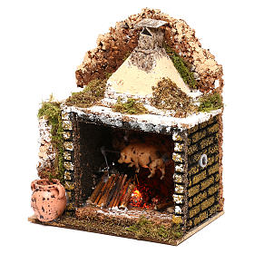 Rotisserie setting with movement and flame effect 20x15x10 cm for Nativity scenes of 10 cm s3