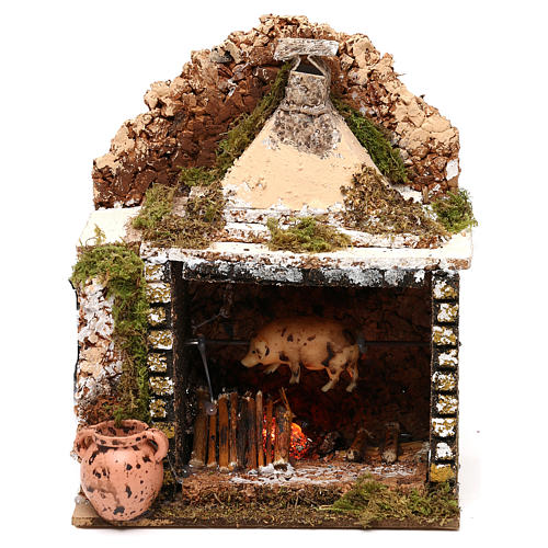 Rotisserie setting with movement and flame effect 20x15x10 cm for Nativity scenes of 10 cm 1