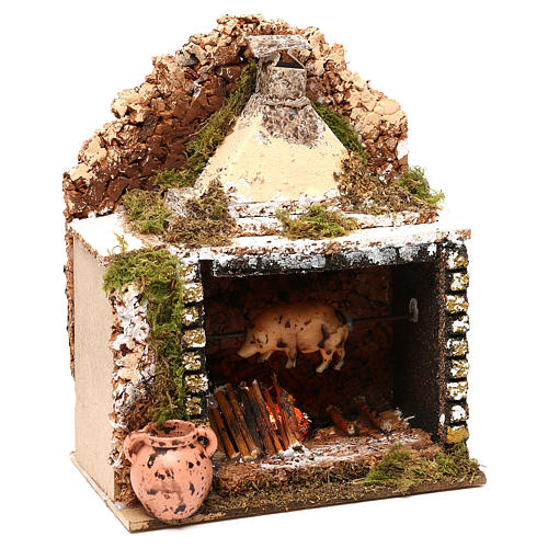 Rotisserie setting with movement and flame effect 20x15x10 cm for Nativity scenes of 10 cm 2