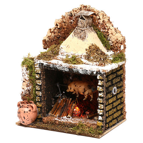 Rotisserie setting with movement and flame effect 20x15x10 cm for Nativity scenes of 10 cm 3