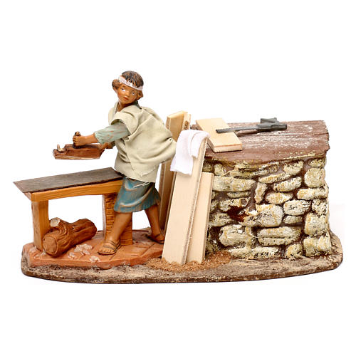 Moving carpenter figurine, Fontanini 12 cm nativity 1