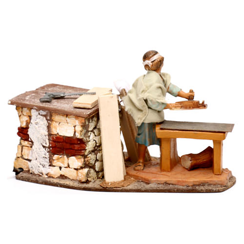 Moving carpenter figurine, Fontanini 12 cm nativity 3